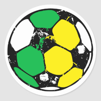 Soccer ball green and yellow classic round sticker