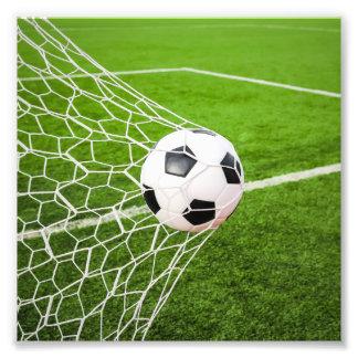 Soccer Ball Hitting Goal Net Art Photo