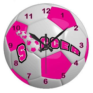 Soccer Ball | Hot Pink Large Clock