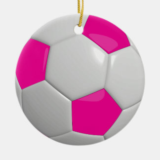 Soccer Ball   Hot Pink Round Ceramic Ornament
