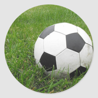 Soccer Ball in Grass Classic Round Sticker