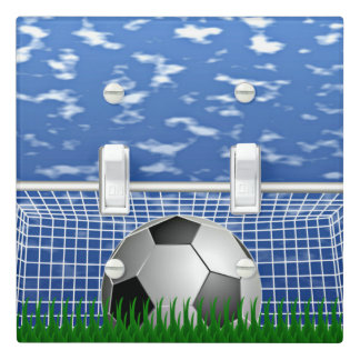 Soccer Ball in Net, clear summer day Light Switch Cover
