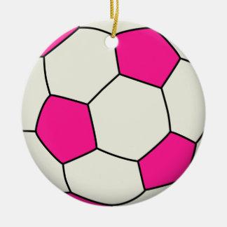Soccer Ball in Pink Ceramic Ornament