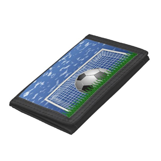 Soccer ball in the net - summer day tri-fold wallet