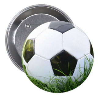 Soccer Ball in the Summer Grass 3 Inch Round Button