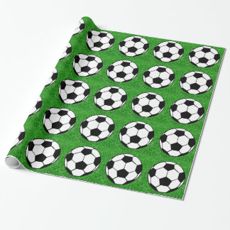 Soccer Ball On Grass Wrapping Paper