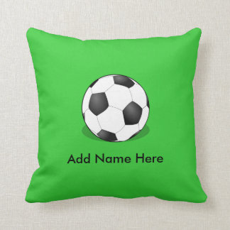Soccer Ball On Green Background Throw Pillow
