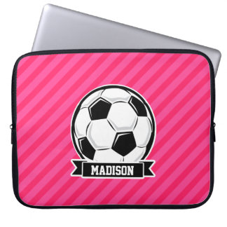 Soccer Ball on Neon Pink Stripes Computer Sleeve