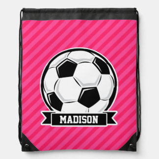 Soccer Ball on Neon Pink Stripes Drawstring Bag