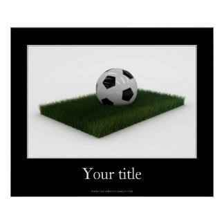 Soccer Ball on patch of lawn - Poster