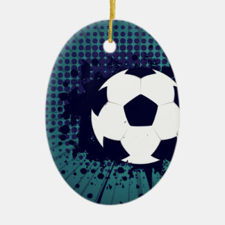 Soccer Ball on Rays Background 2 Ceramic Oval Ornament