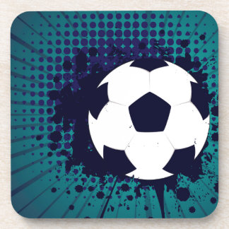 Soccer Ball on Rays Background 2 Coasters