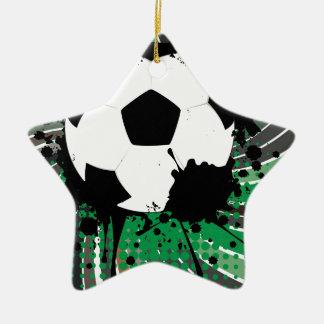 Soccer Ball on Rays Background 3 Ceramic Star Ornament