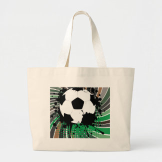 Soccer Ball on Rays Background 3 Large Tote Bag