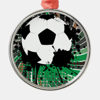 Soccer Ball on Rays Background 3 Silver-Colored Round Ornament