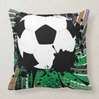 Soccer Ball on Rays Background 3 Throw Pillow