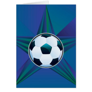 Soccer Ball on Rays Background Card