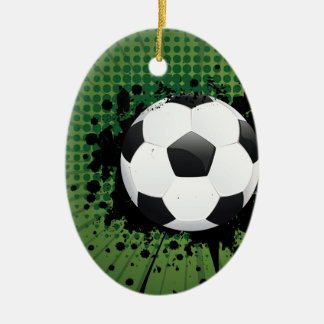 Soccer Ball on Rays Background Ceramic Oval Ornament