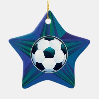 Soccer Ball on Rays Background Ceramic Star Ornament