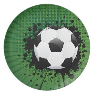 Soccer Ball on Rays Background Dinner Plates