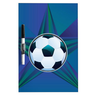 Soccer Ball on Rays Background Dry-Erase Board