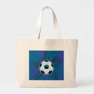 Soccer Ball on Rays Background Large Tote Bag