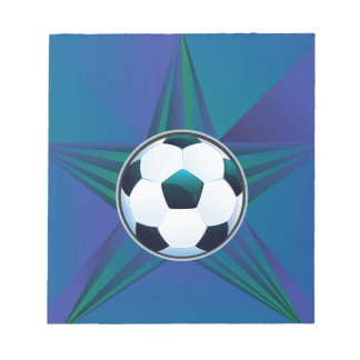 Soccer Ball on Rays Background Notepads