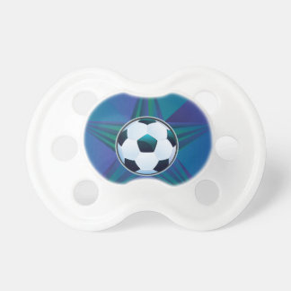 Soccer Ball on Rays Background Pacifier