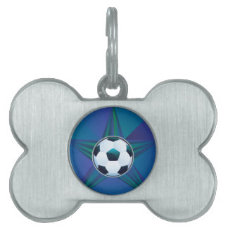 Soccer Ball on Rays Background Pet Name Tag