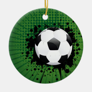 Soccer Ball on Rays Background Round Ceramic Ornament