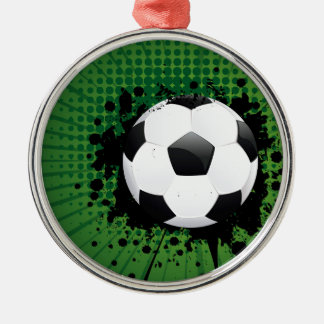 Soccer Ball on Rays Background Silver-Colored Round Ornament