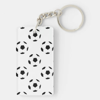 Soccer Ball Pattern Double-Sided Rectangular Acrylic Keychain