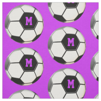 Soccer Ball Purple Monogram Pattern Fabric