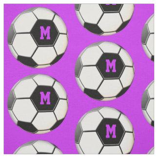 Soccer Ball Purple Monogram Pattern Fabric