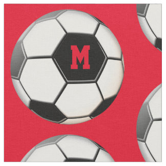 Soccer Ball Red Monogram Pattern Fabric