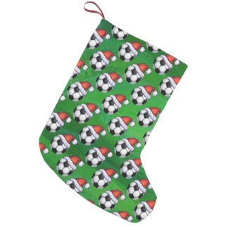 Soccer Ball Santa Hat Pattern on Green Small Christmas Stocking