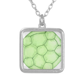 Soccer Ball Sketch 2 Silver Plated Necklace