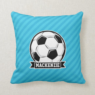 Soccer Ball; Sky Blue Stripes Throw Pillow