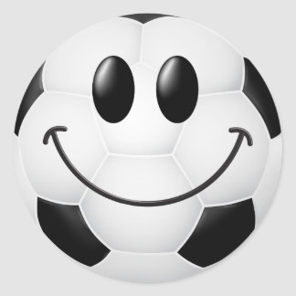 Soccer Ball Smiley Face Round Sticker