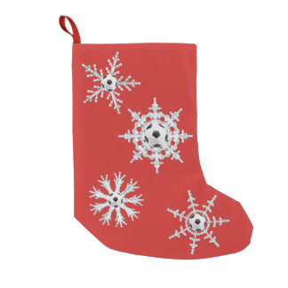 Soccer ball snowflakes small christmas stocking