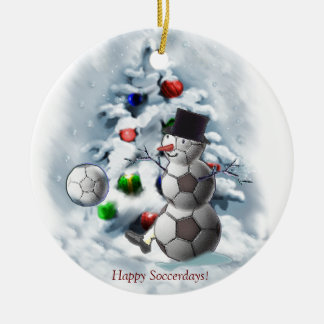 Soccer Ball Snowman Christmas Round Ceramic Ornament