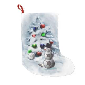Soccer Ball Snowman Christmas Small Christmas Stocking