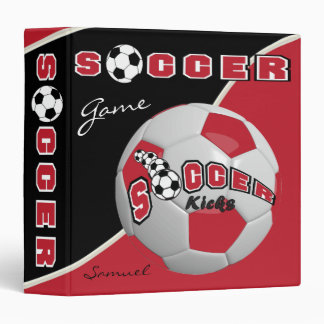 Soccer Ball Sport Game | Dark Red | DIY Name Binders