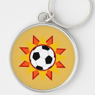 Soccer Ball Sunburst Silver-Colored Round Keychain