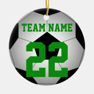 Soccer ball team name personalized ceramic ornament