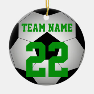 Soccer ball team name personalized round ceramic ornament