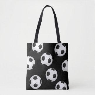 soccer ball tote bag black and white design