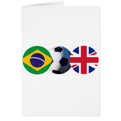 Soccer Ball UK & Brazil Flags The MUSEUM Zazzle Greeting Card