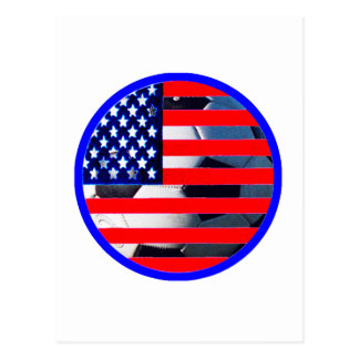 Soccer Ball & USA Flag2 The MUSEUM Zazzle Blue-C Postcard