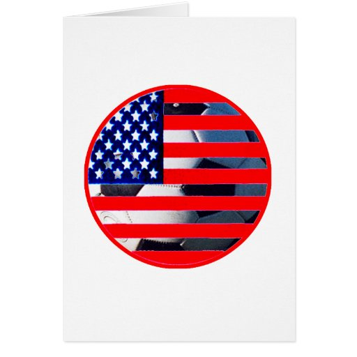 Soccer Ball & USA Flag2 The MUSEUM Zazzle Red-C Card